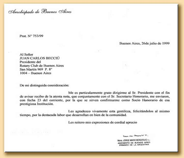 Letter of Cardinal Bergoglio at the rotary club